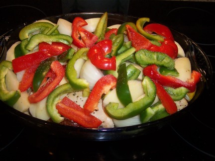 Peppers, potatoes and onions added.