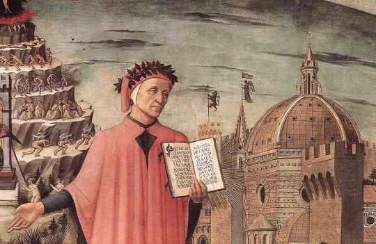 Dante, poised between the mountain of purgatory and the city of Florence, displays the description: Nel mezzo del cammin di nostra vita in Domenico di Michelino's painting in Florence, 1465.