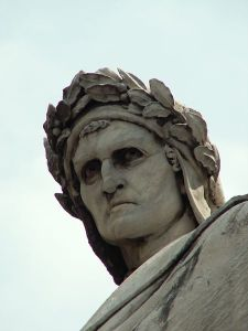 Statue of Dante in the Piazza di Santa Croce in Florence.
