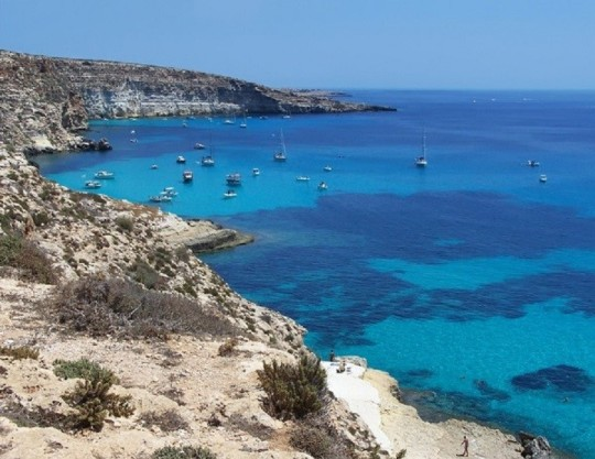 Boats on the island of rabbits- Lampedusa, Sicily
