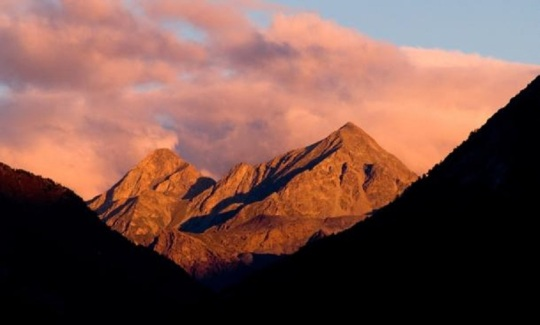 Sunrise over Mount Mucrone, seen from Val di Gressoney, in the Aosta Valley's section of the Italian Alps.