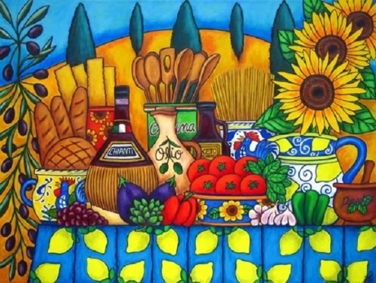 """Tuscany Delights"" painting by Lisa Lorenz."