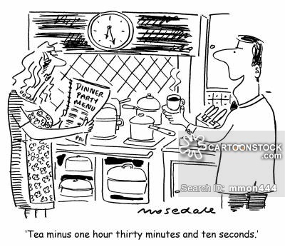 'Tea minus one hour thirty minutes and ten seconds.'