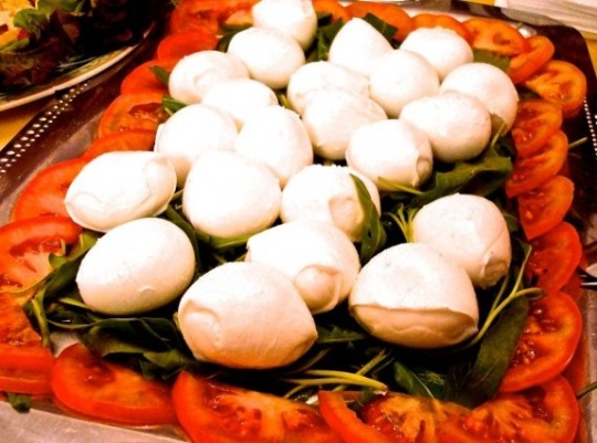 Caprese salad made with the area's mozzarella di bufala.