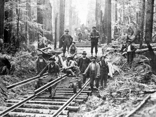 Italian immigrants working on the railroad.