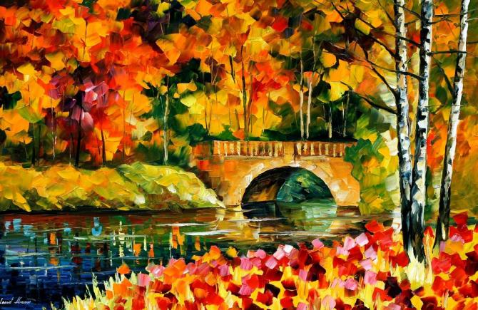 FALL BRIDGE—By Leonid Afremov