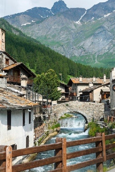 Chianale (Cuneo, Val Varaita, Piedmont, Italy), old typical mountain village in the Italian ALps at summer