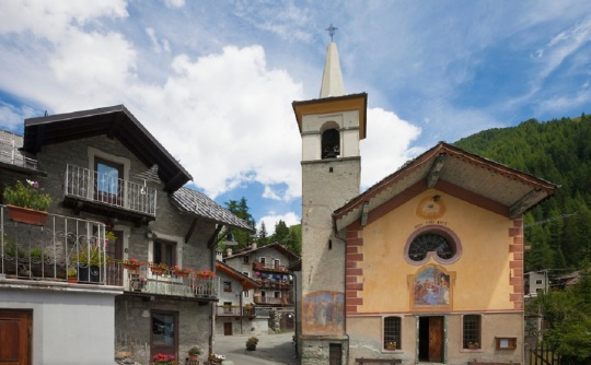 Church in the village of Saint-Jacques. Aosta Valley, Italy.