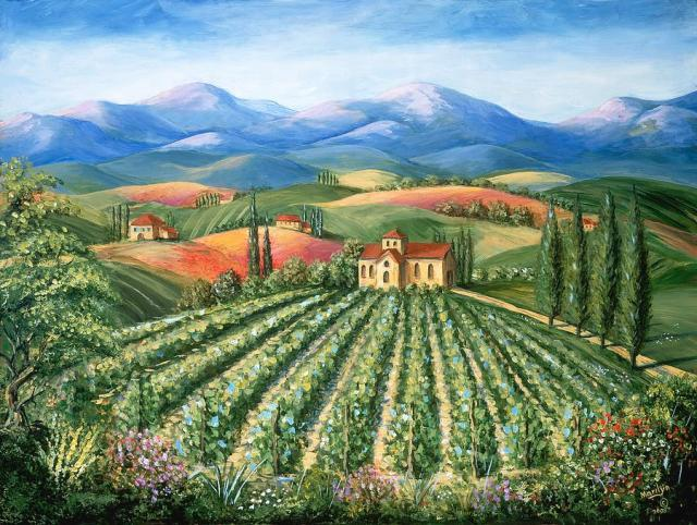 Tuscan Vineyard and Abbey painted by Marilyn Dunlap