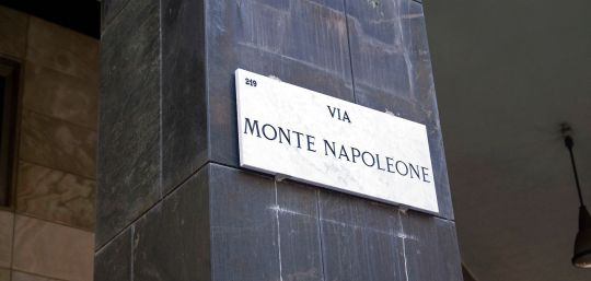 "Via Monte Napoleone, the leading thoroughfare in Milan's ""golden quadrilateral"". In 2010, it was ranked as the sixth most expensive shopping street in the world."