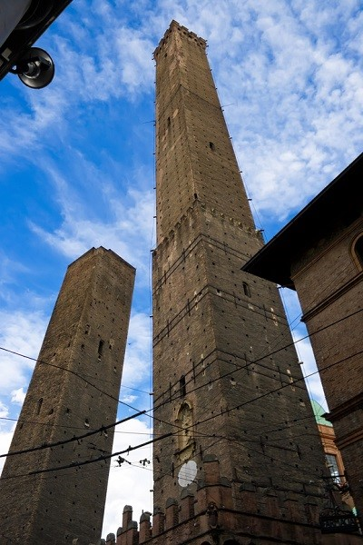 Garisenda and Asinelli leaning towers. Bologna, Italy