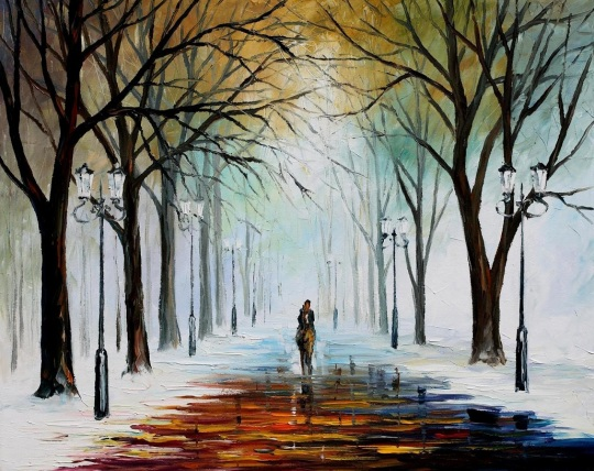 WINTER MOOD — PALETTE KNIFE Oil Painting On Canvas By Leonid Afremov
