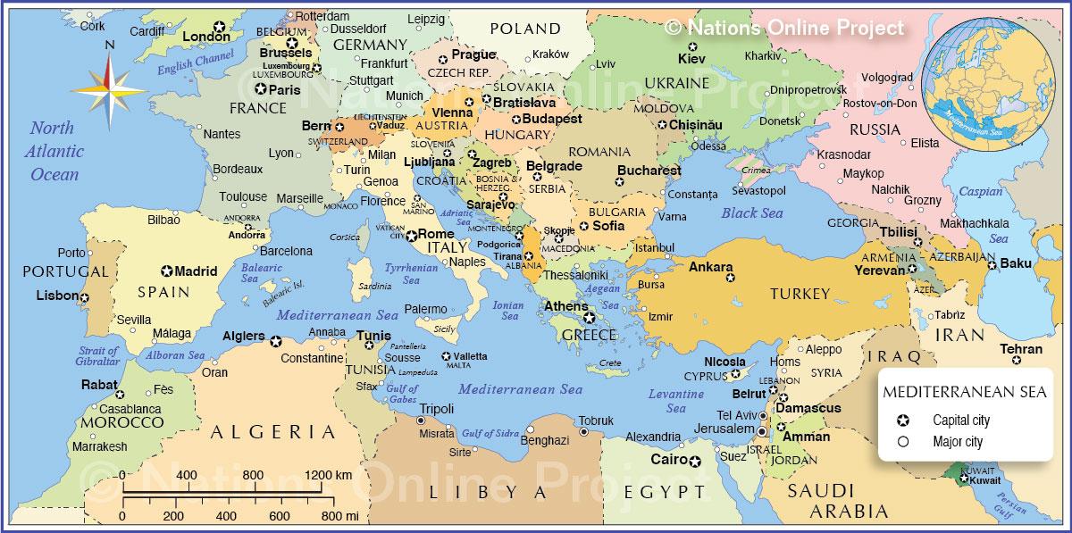 Political Mediterranean Region Map Jovina Cooks