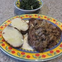 Steak with Mushroom Blue Cheese Sauce